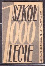 POLAND 1960 Matchbox Label - Cat.Z#136b-p, 1000 Schools, for 1000 years (Polish)
