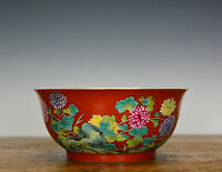 Fine Chinese Qing Qianlong Famille Rose Enamel Coral Red Glazed Porcelain Bowl