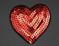 """RED SEQUIN HEART PATCH, 2.375""""X2.25"""", RED SEQUINED HEART APPLIQUE (SHM-371)"""