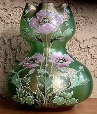 Antique Glass Vase Gold Hp Mont Joye Baccarat Harrach Bohemian Loetz Era