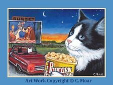 Tuxedo Cat Car Drive in Lady Tramp Movie Fun ACEO Limited Edition Art Print Card