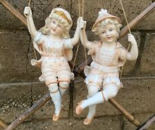 "HUGE 10"" Rare Antique German All Bisque Swinger Doll Pair Shade/Oil Lamp Pull"