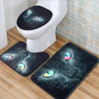 3tlg.Set Katze Badgarnitur Badematte Badteppich Badvorleger Toilette Deckel   !