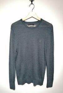 All Saints Size M Jumper Mode Merino Wool Blue/Grey Long Sleeve Fine Knit