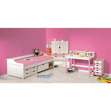 Caisson de bureau mobile commode coffre à jouets rangement 6 tiroirs ROSE BLANC