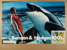 1972 Killer Whale Orca photo Benson & Hedges Cigarettes vintage print Ad