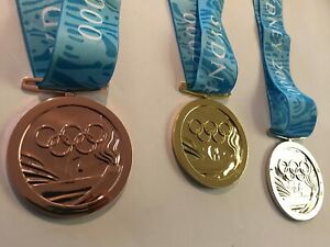 Sydney 2000 Olympic Medals Set (Gold/Silver/Bronze) with Silk Ribbons & Display