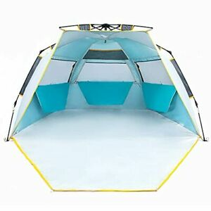3-4 Person Easy Up Beach Tent UPF 50+ Portable Instant Sun Shelter Large