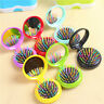 Pocket Size Round Travel With Brush Hair Massage Mirror Folding Comb Air Bag