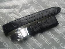SEIKO PREMIER 21mm Reloj Correa de implementación de Cuero Negro B21 4A072JL