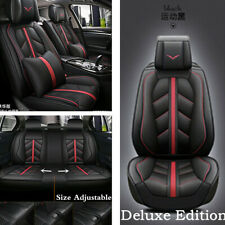 Black Luxury PU Leather 5-Seat Car Seat Cover Cushion For Interior Accessories
