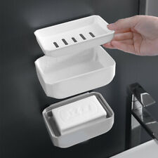 New Soap Dish Soap Holder for Bathroom and Shower Double Layer Drain White