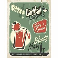 Plaque Publicitaire Vintage Métal Cocktail Lounge Bloody Mary Atmosphera 30 x40
