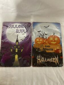"""New Sealed 2 Pack Halloween Tin Sign 12""""x8"""""""