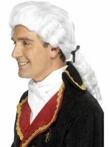 Bianco Giudice Parrucca Avvocato Tribunale Barocco Costume da Uomo Adulto