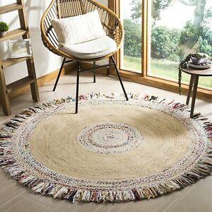 Rug 100% Natural Jute&Cotton Bohemian Outdoor Living Area Modern Carpet Rag Rugs