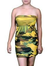 Green Yellow Camouflage Army Print Tube Nylon Mini Dress.  One Size.