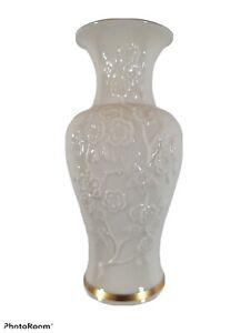 "Lenox Cherry Blossoms Vase 24K Gold Trim 6 1/2"" Ivory White Decorative Exc+"