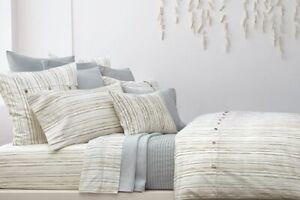 DKNY Pure Comfort Stripe Organic 8P Queen Duvet Set New