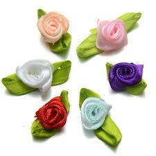 40 x MINI Assorted Colours Ribbon Roses 13mm Appliqué Wedding Decor Arts Crafts
