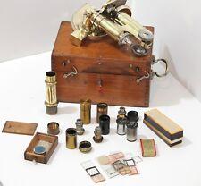 Brass Compound Microscope by Stiassnie, c. 1900, Paris in Brass