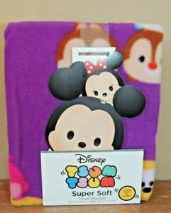 NEW DISNEY Tsum Tsum Super Soft Travel Blanket Baby Characters 40' X  50' PURPLE