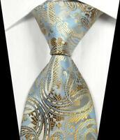 Hot Classic Paisley Gold Silver Blue JACQUARD WOVEN 100% Silk Men's Tie Necktie
