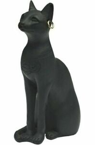 10cm Black Egyptian Cat with Ear Rings Statue Ornament Resin Figurine Bast Boxed