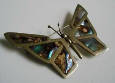 Mexican STERLING Silver & Abalone Shell Inlay BUTTERFLY Large Pin BROOCH Mexico