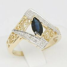 Style Ring, Sz M/6.5, 30 Day Returns Sapphire Diamond 9K 9ct Solid Gold Antique