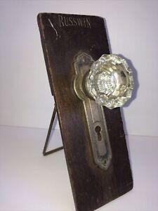 ANTIQUE RUSSWIN GLASS DOOR KNOB STORE SAMPLE DISPLAY