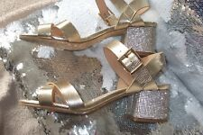 River Island Gold Sandals with diamonte heels, size 5