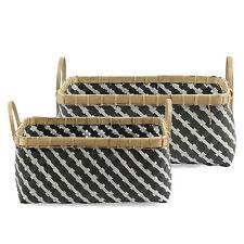 Korb Set 2 tlg. Kunststoffgeflecht Grau / Korb, Aufbewahrung, Aufbewahrungskorb