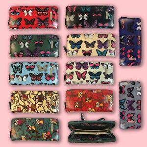 Kukubird Women Ladies Wallets Purses Large Zip Owl Butterfly Design / P&P in UK