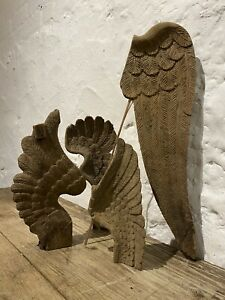 Antique Hand Carved Wood Wooden Angel Wings Early 1900's Belgium Decorative