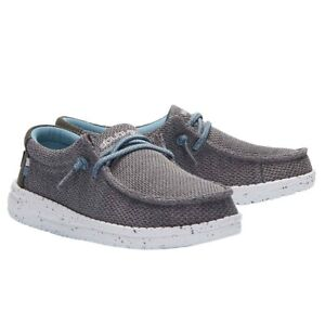 Hey Dude Children's Wally Sox Shark-Skin Grey Cloth Shoes 130133217