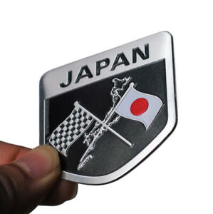 1x Japan Japanese Flag Shield Emblem Badge Aluminum Car Auto Sticker Accessories