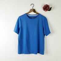 ISAAC MIZRAHI LIVE Women's Tshirt Top Pima Cotton Blue L