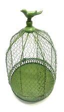 Decorative Vintage Round Shabby Shek Green Wire Hanging Bird Cage Planter