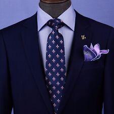 Blue & Pink Italian Fleur-De-Lis Designer Tie 8cm Necktie Florentine Accessory