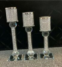 Set Of 3 Candle Holder Sparkly Silver Diamond Crush Crystal Faceted Balls✅