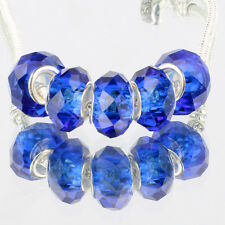 Crystal Sapphire blue 5pc MURANO glass bead LAMPWORK fit European Charm Bracelet