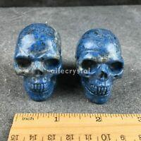 "2"" Natural Lapis lazuli jasper crystal skull hand carved reiki healing 1pc"