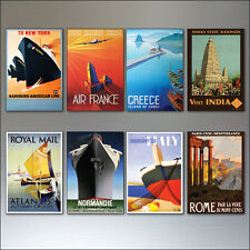 8 Vintage Travel Posters Fridge Magnets from Art Deco Period - Retro repro No.5