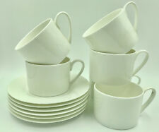 0ac91619a8f Set of 4 Plain White Fine Bone Contemporary China Cups and Saucers