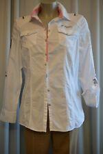 L`Argentina Damen  Bluse Hemd Gr.42 Weiß Langarm Applikationen TOP *A46