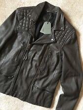 AllSaints Rowley Leather Biker Jacket Brown L