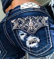 Miss Me Cut Off Cuffed Destroyed Faux Flap pocket  Denim blue Jean shorts 27