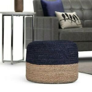 Pouf Cover Jute Braided Style Ottoman Cover Floor Decor Living Modern Foot Stool