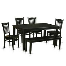 East West Furniture DUGR6-BLK-W 6-Piece Dining Room Table Set NEW